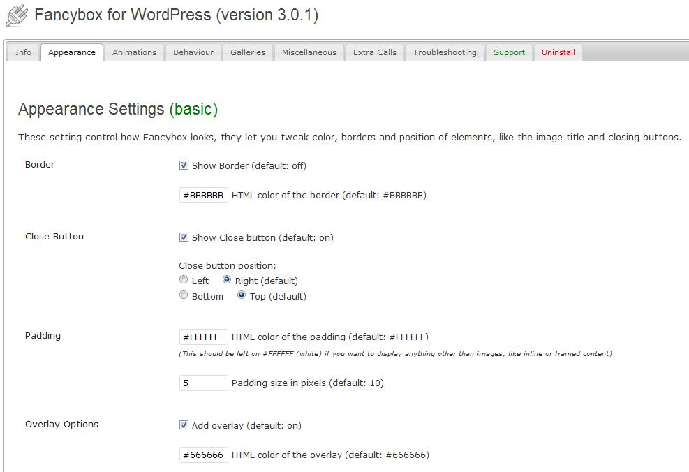 Настройки плагина FancyBox for WordPress.