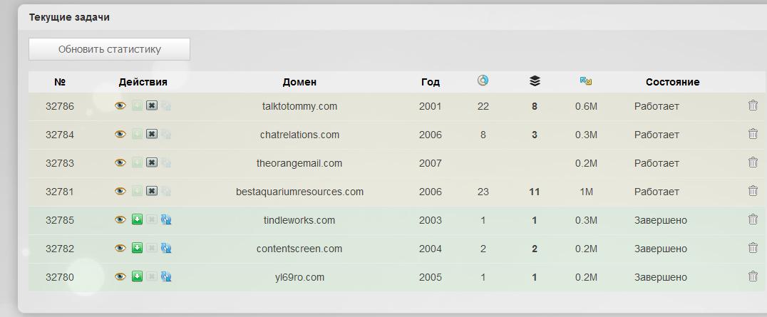 Процесс восстановления сайтов из Вебархива.